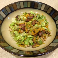 Three bean salad with coriander-ginger dressing
