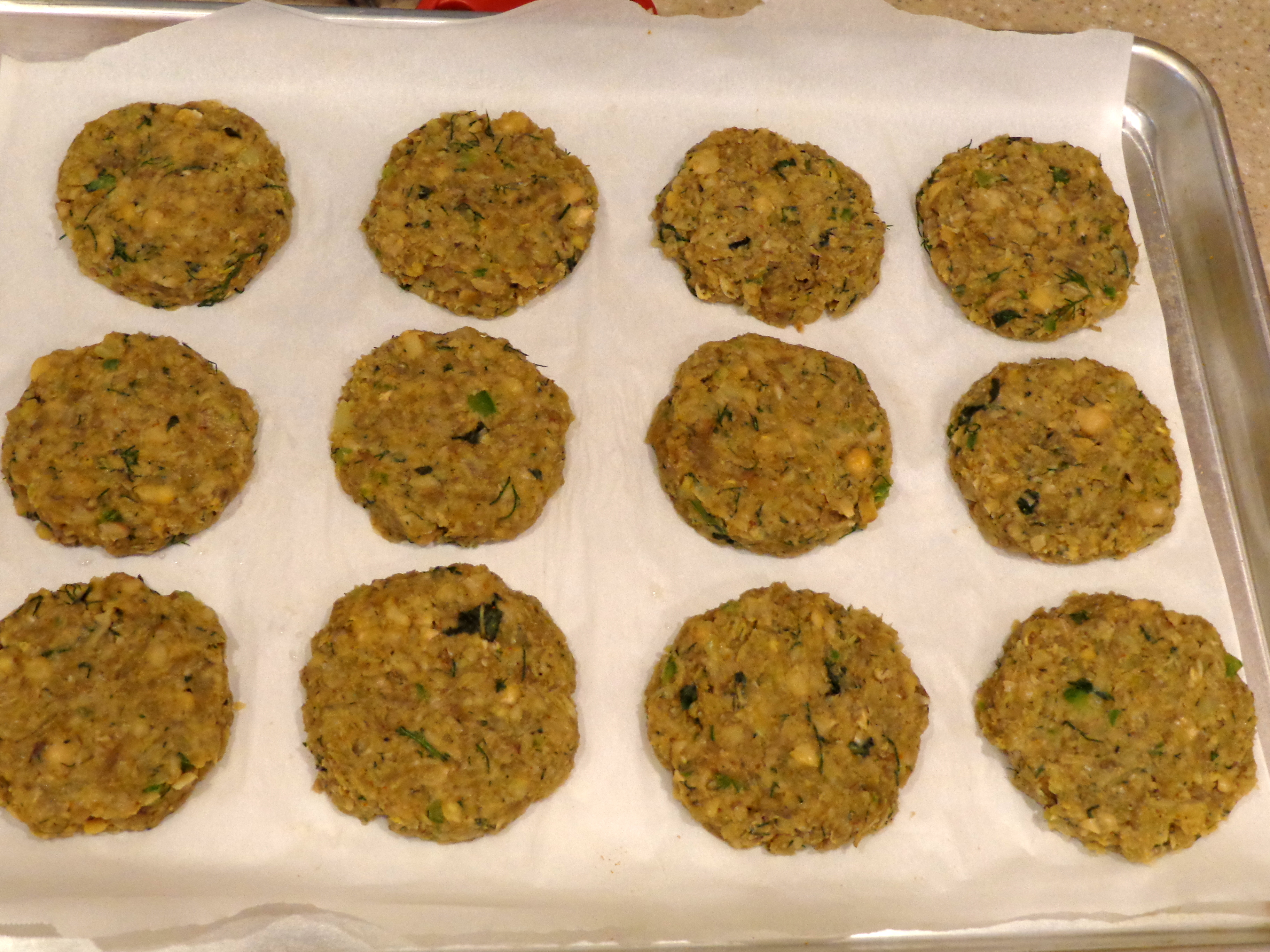 baked veggie patties/cutlets with sprouted chickpeas, dill and
